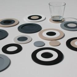 glasonderzetters 6 stuks Mix-It wit, beige, taupe, l.grijs, antraciet, zwart