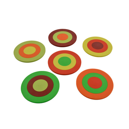 set 6 onderzetters Mix-It l.groen, appelgroen, geel, oranje, rood, wijnrood