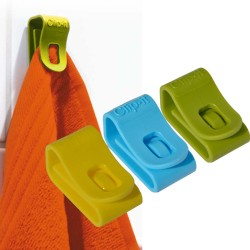 multifunctionele haak geel, blauw, groen