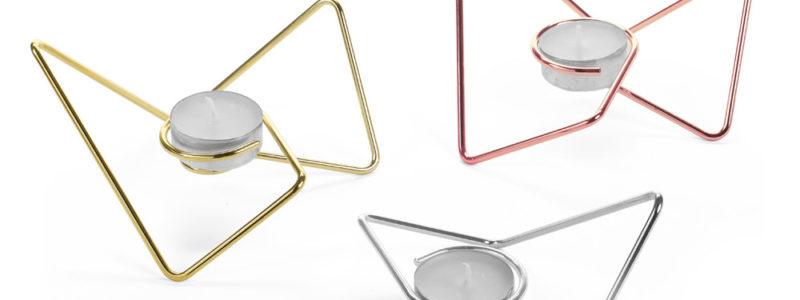 Waxinelichthouders Tri-Angular Loop 3 kleuren