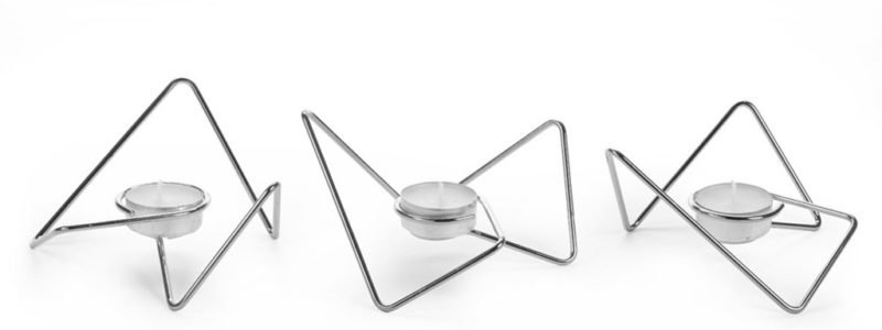 Waxinelichthouders Tri-Angular Loop chroom