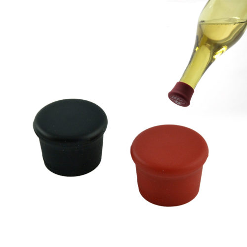 herbruikbare wijnfles afsluitdoppen 2 stuks - zwart, rood
