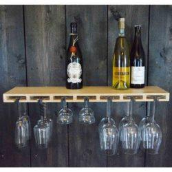 plank voor wijnglazen en flessen Glass Bar naturel