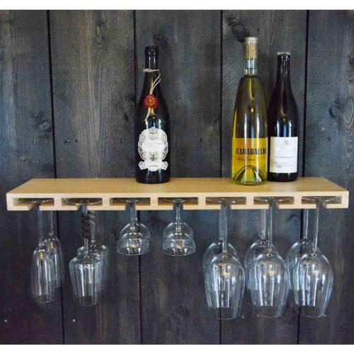plank voor wijnglazen en flessen Glass Bar