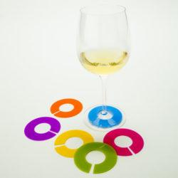 Siliconen wijnglas identifiers effen kleuren | set 6 stuks