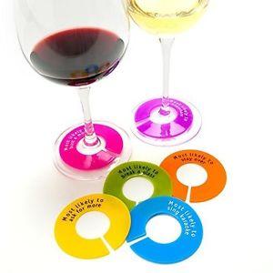 siliconen wijnglas identifiers met teksten | set 6 stuks