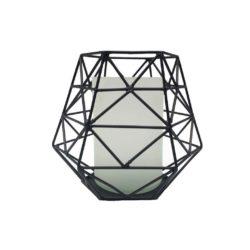 windlicht zwart metaal en melkglas klein Rocaflor
