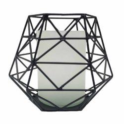 windlicht zwart metaal en melkglas groot Rocaflor