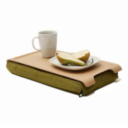 Bosign mini laptray - dienblad met kussen naturel/ olijfgroen