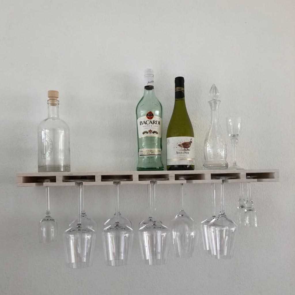 Bar Plank Aan Muur.Glass Bar Plank Voor Wijnglazen En Flessen White Wash Handig Cadeau