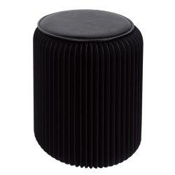 opvouwbare kruk zwart met zwart kussentje 42 cm | Stooly