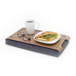 Bosign mini laptray dienblad met kussen walnoothout grijs