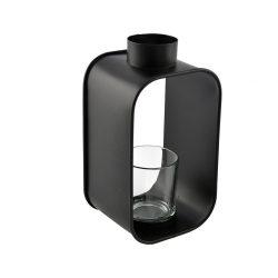 lantaarn met waxinelichthouder klein | metaal zwart
