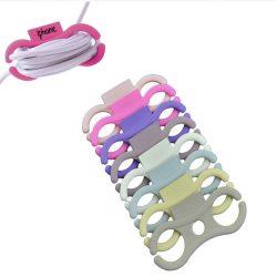 Cable label, set 8 stuks l.roze, fuchsia, paars, violet, wit, grijs, camel, taupe